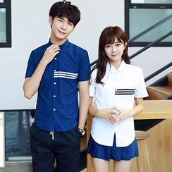 Azure - Couple Matching Contrast Trim Short Sleeve Shirt
