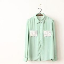 11.STREET - Crochet Pocket Chiffon Blouse