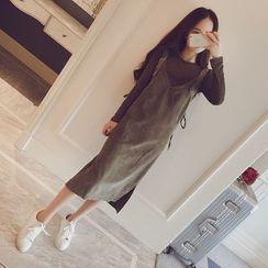 Ashlee - Set: Corduroy Sleeveless Dress + Long-Sleeve T-shirt