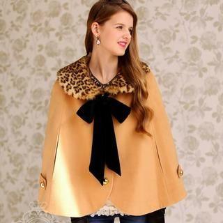 Dabuwawa - Leopard-Print Collar Cape Jacket