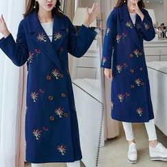 Lavogo - Embroidered Lapel Wool Coat