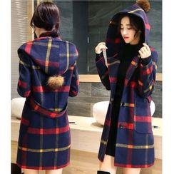 Oaksa - Hooded Plaid Long Coat