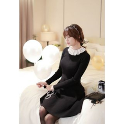 MyFiona - Contrast Frill-Collar Flared Knit Dress