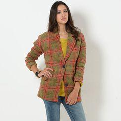 59 Seconds - Drop Shoulder Plaid Coat