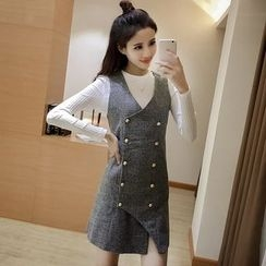 Angel Shine - Set: Long Sleeve Knit Top + Double Breasted Pinafore Dress