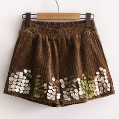 Heybabe - Sequined Corduroy Shorts