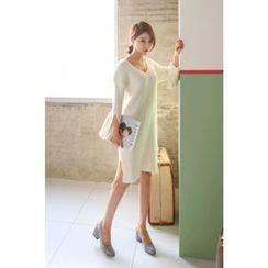 PPGIRL - Slit-Sleeve Ribbed Knit Dress