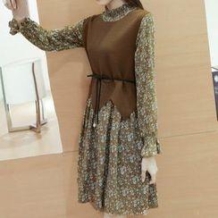 Cottony - Set: Floral Print Long Sleeve Chiffon Dress + Knit Vest