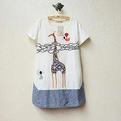 Tulander - Giraffe Applique Short-Sleeve T-Shirt