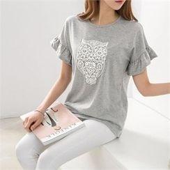 PEPER - Ruffle-Sleeve Printed T-Shirt