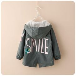 Rakkaus - Kids Lettering Applique Hooded Zip Coat