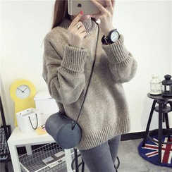 YAMI - 純色小高領毛衣
