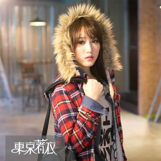 Tokyo Fashion - Faux Fur Trim Hooded Plaid Coat