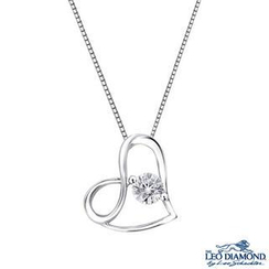 Leo Diamond - 18K White Gold Diamond Heart Pendant Necklace (16')