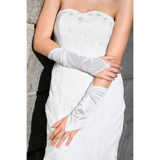 59 Seconds - Shirred Long Fingerless Bridal Gloves