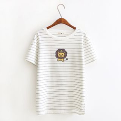 Vateddy - Lion Print Short Sleeve T-Shirt
