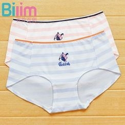 Rikku - Dog Print Striped Panties