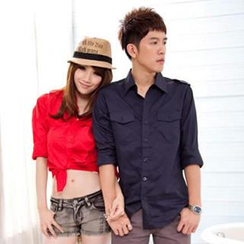 Gurun Vani - Long-Sleeve Epaulette-Accent Couple Shirt