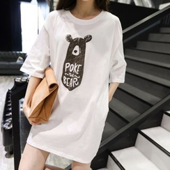 Au Naturel - Printed Elbow-Sleeve T-shirt Dress