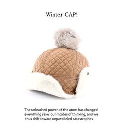 Ohkkage - Quilted Pom-Pom Fleece Hat
