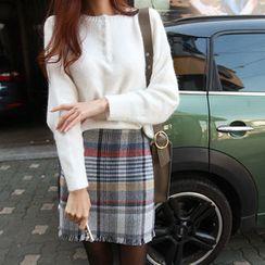 NIPONJJUYA - Half-Placket Wool Blend Knit Top