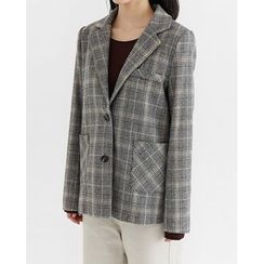 Someday, if - Single-Breasted Plaid Wool Blend Jacket