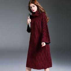 洛圖 - 長袖高領條紋連衣裙