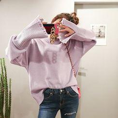 DABAGIRL - Long-Sleeve Distressed Sweater
