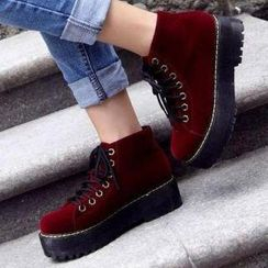 Mancienne - Fleece-Lined Platform Ankle Boots