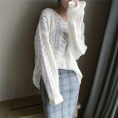 Mayflower - Pointelle Knit V-Neck Sweater