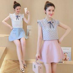 Strawberry Moon - Set: Ruffle Sleeveless Floral Top + A-line Skirt