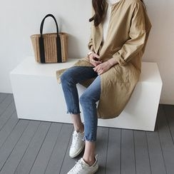 STYLEBYYAM - Open-Front Cotton Long Jacket