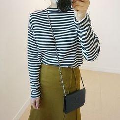 STYLEBYYAM - Stripe Mock-Neck T-Shirt
