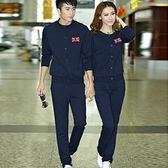 Lovebirds - Set: Couple Applique Jacket + T-Shirt + Pants / Set: Couple Applique Jacket + Pants