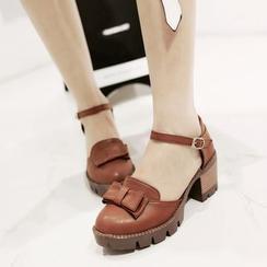 Pretty in Boots - Block Heel Bow Pumps