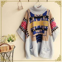 Fairyland - Turtleneck Pattern Cape Sweater