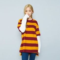 Envy Look - Layered-Sleeve Striped T-Shirt