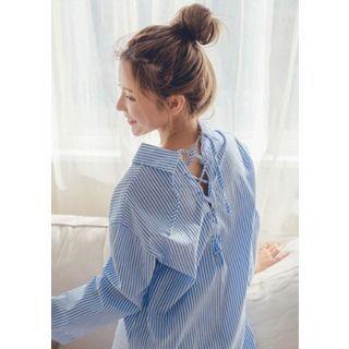 Chlo.D.Manon - Set: Lace-Up Back Stripe Shirt + Denim Mini Wrap Skirt