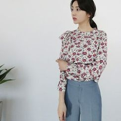 Hello sweety - Floral Print Frill-Trim Top