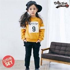 BILLY JEAN - Girls Set: Color-Block Brushed-Fleece Sweatshirt + Band-Waist Pants