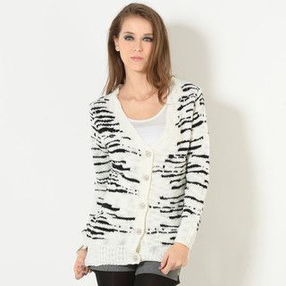 YesStyle Z - Wool-Blend Floral-Panel Patterned Cardigan