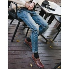STYLEMAN - Straight-Cut Washed Jeans