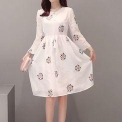 ONXZ - Flower Embroidered Long Sleeve Chiffon Dress