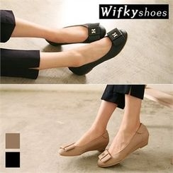 Wifky - Metal-Lettering Wedge-Heel Bow Pumps