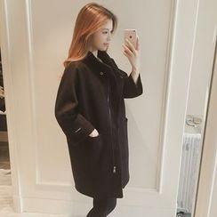 Ashlee - Plain Long Woolen Coat