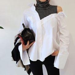 DABAGIRL - Inset Turtle-Neck Top Cotton Shirt