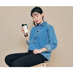 HOTPING - Half-Placket Denim Top