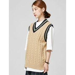 FROMBEGINNING - V-Neck Wool Blend Cable-Knit Vest