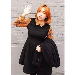 J-ANN - Wool Blend Inset Blouse Dress