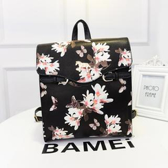 Bibiba - Floral Faux Leather Backpack